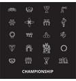 championship editable line icons set on vector image vector image