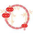 chinese frame with lanterns vector image vector image