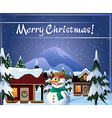 christmas eve in village vector image vector image