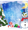 Christmas tree gifts and snowman vector image