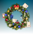 Christmas wreath with letters to Santa Claus vector image vector image