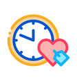 clock time heart icon outline vector image