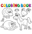 coloring book with farm animals 4 vector image vector image