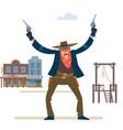 cowboy western character wild west gunslinger vector image vector image