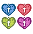 Decorative heart with a keyhole set vector image