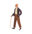 elderly man walking old senior in glasses vector image