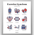 exercise gym icons linecolor pack vector image