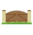 fence with brick pillars and wood gate vector image