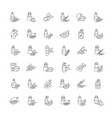 hair oils pixel perfect linear icons set avocado vector image vector image