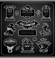 halloween design labels black and white set vector image