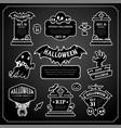 halloween design labels black and white set vector image