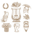 hand drawn greece icon set vector image
