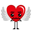 heart love with wings sad kawaii character vector image