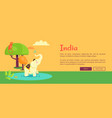 india web poster with elephant and monkey on tree vector image vector image