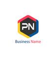 initial letter pn logo template design vector image