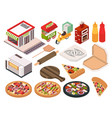 isometric pizzeria icon set vector image vector image