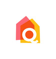 letter q house home overlapping color logo icon vector image vector image