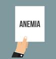 man showing paper anemia text vector image