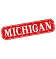 Michigan red square grunge retro style sign vector image vector image