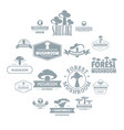 mushroom forest logo icons set simple style vector image vector image