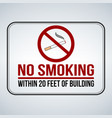 no smoking sign within 20 feet of building vector image