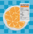 orange with nutrition facts vector image vector image