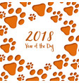 paper cut dog footprints happy chinese new year vector image