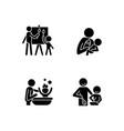 parent-child bonding black glyph icons set vector image vector image