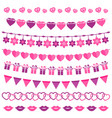 pink garland set isolated on white vector image vector image