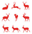 red silhouettes of deer vector image vector image