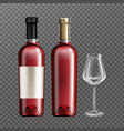 red wine glass bottles and empty drinking glass vector image