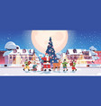 santa claus with mix race elves in masks preparing vector image vector image