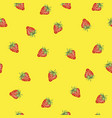 seamless pattern with strawberry summer background vector image