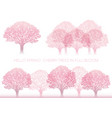 set of cherry tree in full bloom vector image