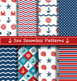 set sea seamless patterns vector image
