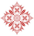 Shape with oval diagonal elements in white and red vector image