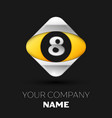 silver number eight logo in silver-yellow square vector image vector image