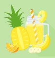 smoothie mixed fruit blend in mason jar vector image vector image