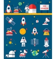 Space Cosmos Exploration Flat Icons Set vector image