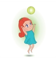 Sweet girl playing with a ball vector image vector image