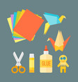 themed kids origami creativity creation symbols vector image vector image