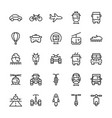 transportation icons set in thin line style vector image vector image