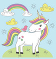 unicorn and bird on the meadow vector image vector image