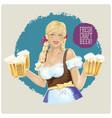 waitress girl with beer in hands vector image