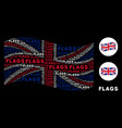 waving uk flag pattern of flags words vector image vector image