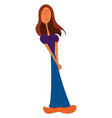 young girl standing and holding her own palm vector image vector image