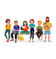 young people gather together with gadgets youth vector image vector image