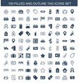 100 tag icons vector image vector image