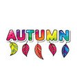 autumn cartoon paper cutout letters with leaves vector image vector image