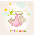 Baby Girl Cat Sleeping - Baby Shower Card vector image vector image